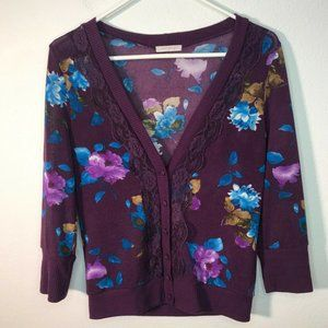 Just Ginger Womens Button Up VNeck Floral Cardigan